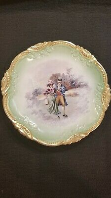 "Antique European Porcelain Ice Skating Couple Victorian Charger 11.5 "" Skaters"