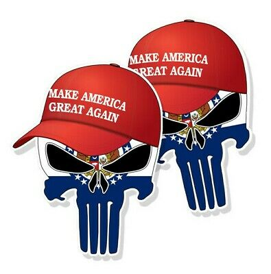 "TRUMP PUNISHER STICKERS Missouri State Flag MAGA Hat Decals - 3"" tall 2-pack"