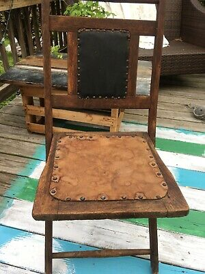 Antique Wood Folding Chair Arts and Crafts 1920's Exquisite