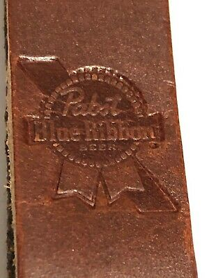"Classic Heavy Duty Leather Pabst Blue Ribbon Bottle opener 5.5"" Long"