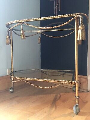 1960's LaBarge Gilt Tassel Bar Cart Table Metal Glass Gilded Hollywood Regency
