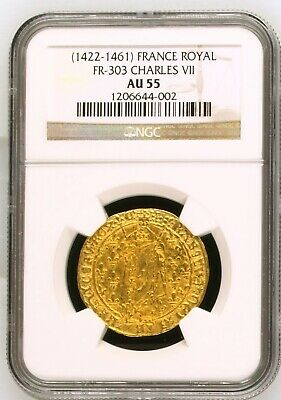 Rare Charles Vii Gold Royal D'or Undergraded Ngc Au55