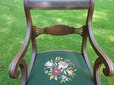 Duncan Phyfe dining room chair; needlepoint seat