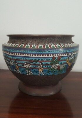 Large Japanese Brass Cloisonne Egyptian Revival Planter / Jardiniere