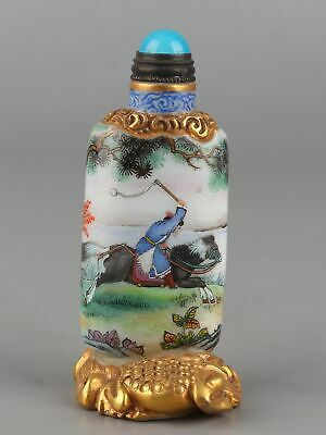 Chinese Exquisite Handmade People and animals Glass snuff bottle