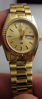 Vintage Ladies Seiko SQ 3Y03-0169 Gold Tone Day Date Watch