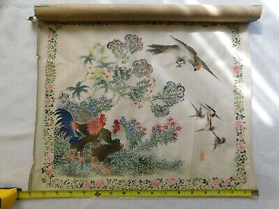 """Antique Chinese Silk Painting 2 Roosters and Birds, Stamped ZhuNan 17X14"""""""