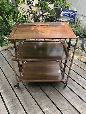 Table Console Table bar Folding Wheeled Trolley Chrome Formica Vintage 70's