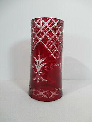 Cut to Clear Glass Shade Hurricane Lamp Lanters Red Lattice Floral Vintage