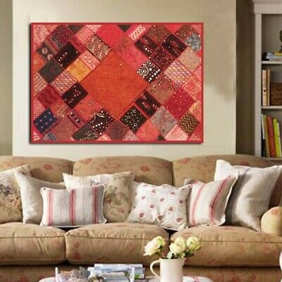 "60"" Red Stunning Ind Beads Sequin Sari Wall Hanging Décor Tapestry Throw Runner"