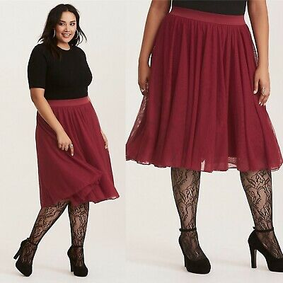 fdc7437470 NEW NWT TORRID Red Pleated Mesh Midi Skirt Size 2 (18/20) - $39.95 ...