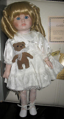 VINTAGE PORCELAIN DOLL w/TEDDY BEAR HAND PAINTED 1987 in BOX by SEYMOUR MANN