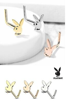 Playboy Bunny 316L Surgical Stainless Steel Nose Bone Stud Pin Ring