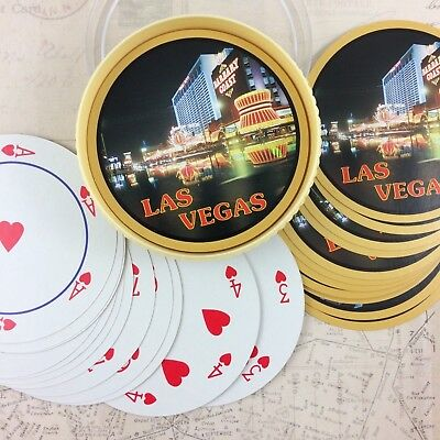 Vtg Las Vegas Barbary Coast Casino Round Deck Playing Cards w Case Circle Deck