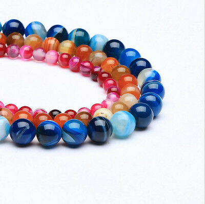DIY Natural Gemstone Round Stripe Agate Onyx Spacer Loose Beads Assorted Stones