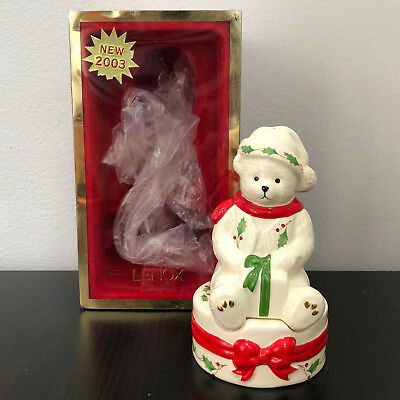 Lenox Holiday Teddy with Package Stackable Salt and Pepper Shakers Mint in Box