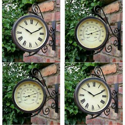 Vintage Antique Shabby Chic Garden Wall Clock Metal +Thermometer Bracket Swivel