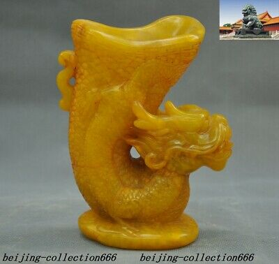 """5""""Old Chinese Tianhuang Shoushan Stone carved animal Dragon goblet wineglass cup"""