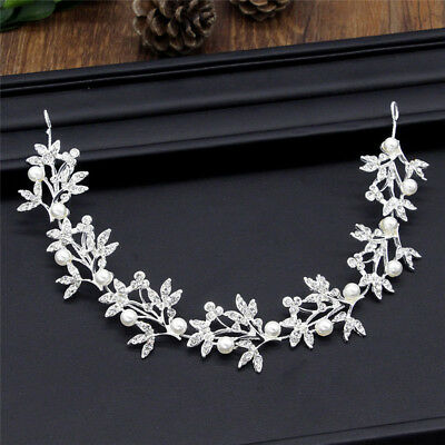 Silver Bendable Pearl Crystal Bridal Hair Vine Wedding Headband EO