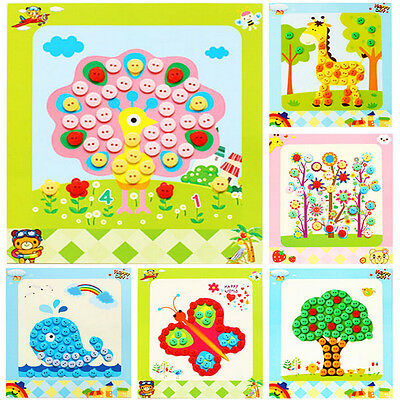 1 Pcs DIY Button Drawing Painting Interactive Material Kids Educational Toys HEO