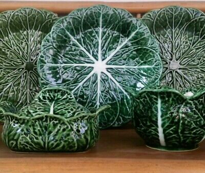 Portugese Majolica Green Cabbage Leaf Plates x3 Bowl Spoon Lidded Butter Dish