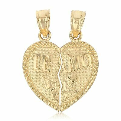 "14K Yellow Gold Small ""Te Amo"" Couple Broken Heart Pendant Charm For Chain"
