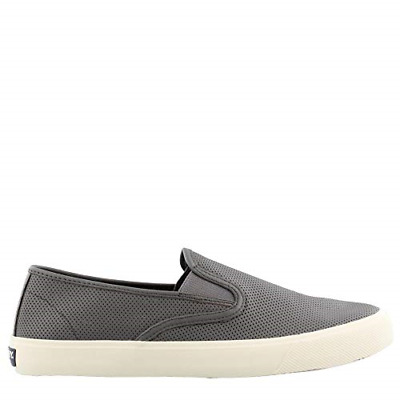 Sperry Top-Sider Captain's Slip On Perforated Sneaker Men 9.5 Grey