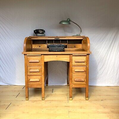 Antique Vintage Oak Roll Top Desk Twin Pedestal Desk 1930s 1940s Edwardian