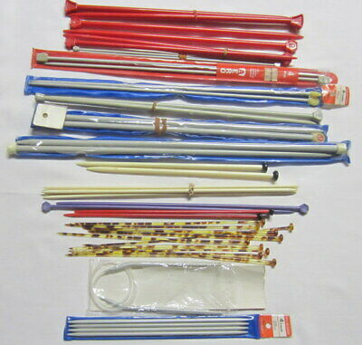17 pairs Vintage knitting needles set of 4 and circular steel plastic & tortoise