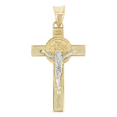 14K Two Tone Gold Jesus Crucifix Cross Religious Pendant Charm for Necklace