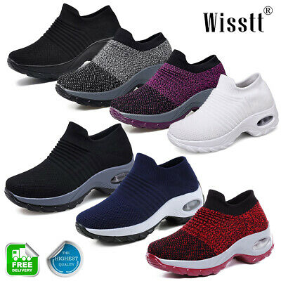 Women's Sport Air Cushion Sneakers Breathable Mesh Walking Slip-On Runners Shoes
