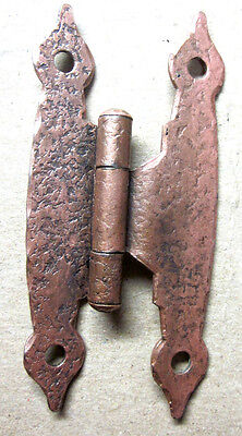 "1 Antique Butterfly Hinge Copper Plated Hammered Colonial Spade Ends 3/8"" Offset"