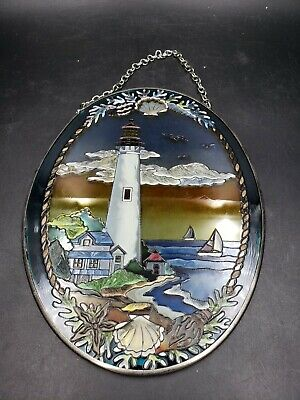 "Amia Oval 5""x 7"" Suncatcher Lighthouse Boats Shells Handpainted Art Glass"