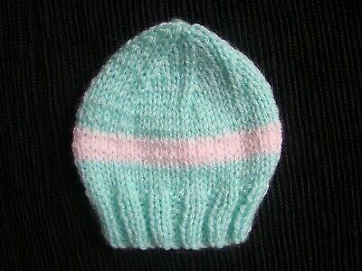 Baby clothes GIRL premature/tiny<4lbs/1.8kg NEW! cute soft aqua/pink knitted hat