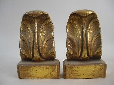 Pair of Acanthus Leaf Bookends Gold Gilt
