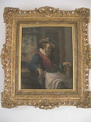 Dutch Portrait Oil Painting on Metal Gold Gilt Wood Frame