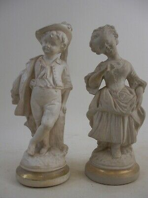 Pair of Borghese Figurines White with Gold Gilt Trim