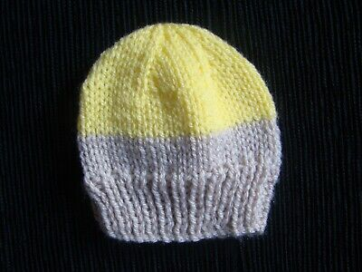 Baby clothes UNISEX GIRL BOY premature/tiny<7.5lbs/3.4kg yellow/coffee soft hat