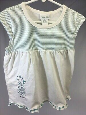 Naartjie White Emerald SS Top with Polkadot Stripes & Needlework Size 8 Years