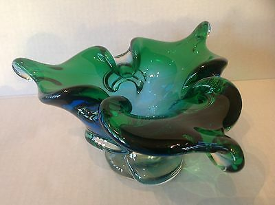 Vintage Art Glass Chalet/Lorraine Murano Blue to Green bowl on Clear Pedestal