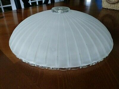 Art Deco 1920s Frosted Milk Glass Ceiling  Fixture Shade