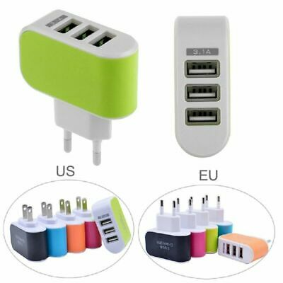 Universal Triple USB 3 Port Wall Home Travel AC Adapter Charger 2019