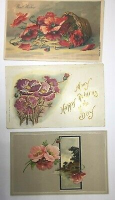 """Vintage Postcards Lot Of 3, Variety Poppies, Foreign Publ. """"Best Wishes & Reurns"""