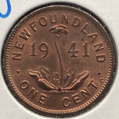 1941 Newfoundland One 1 Cent George Vi Small Penny Coin Bu Km #18