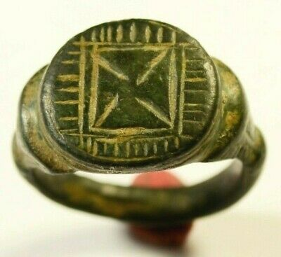 TEMPLAR Knights Ancient BRONZE RING WITH CROSS - WEARABLE Circa ~1100 AD