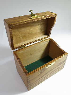 Antique Early 1900s Solid Oak Desk-Top Recipe Card File Box with Brass Clasp