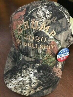 TRUMP 2020 NO BULL $HIT Donald Trump Cap Mossy Oak with Tan Embroidery Free PIN