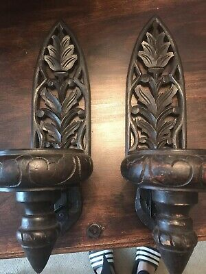 Pair Of Wooden Wall Candle Holders