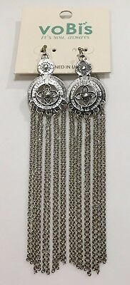 Funky Silver Tone Nwt Round Chandelier Pierced Earrings Dangling Chains