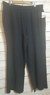 Womens JM Collection Black Crinkle Wide Leg  Dress Pants, size XL